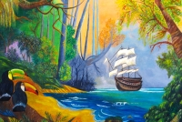 """Adventure Into the Wild Amazon"" Acrylic on Canvas painting"