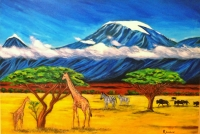 """Kilimanjaro On Top of the World"" Acrylic on Canvas painting"