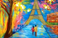 """""""a moment in Paris"""" Acrylic on canvas painting"""