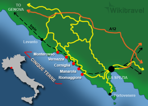 CinqueTerre italy-map Quick travel Guide
