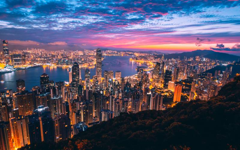 Hong Kong skyline Night view scams
