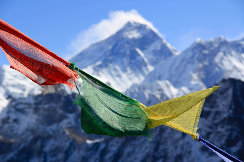 Prayer Flags With mountain backdrop Nepal