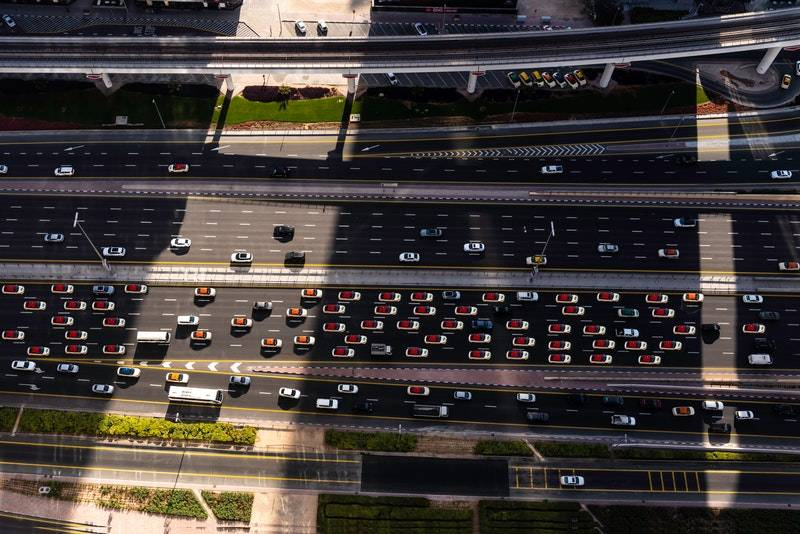 aerial shot birds eye view cars traffic dubai itinerary one day