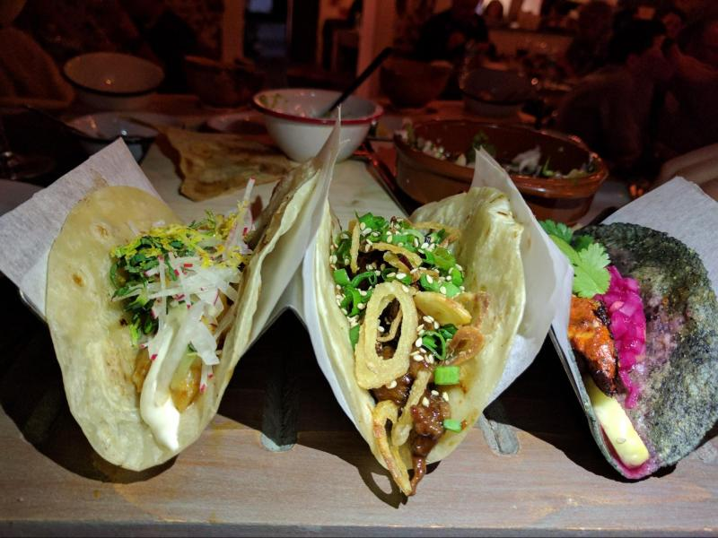 eating Blue Purple Tacos Mexico food weird